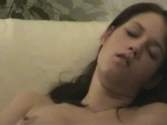 Teen girl shaving and fingering pussy on armchair